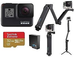 GoPro HERO7 Black - Bundle with GoPro 3-Way 3-in-1 Mount, 32GB MicroSDHC U3 Card, Spare Battery