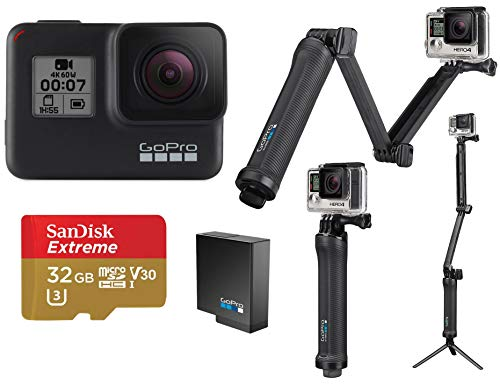GoPro HERO7 Black - Bundle with 3-in-1 Mount, Extra Rechargeable Battery, and 32GB Card (Gopro Hero 3 White Refurbished)