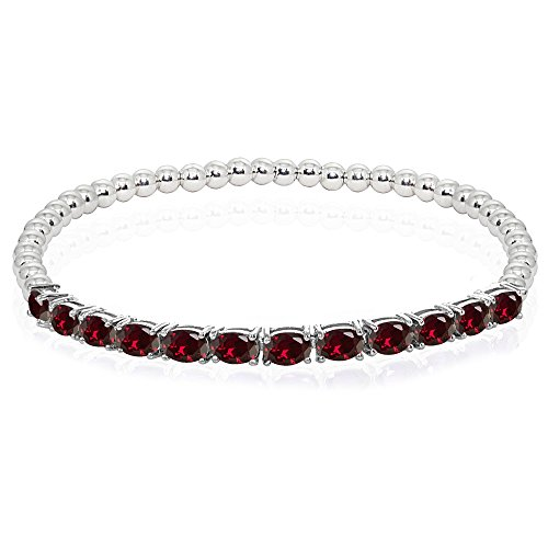 Sterling Silver Created Ruby Oval Beaded Stretch Tennis Style ()