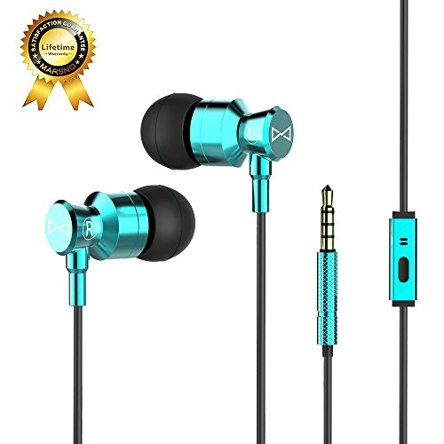 Marsno M1 Wired Metal In Ear Headphones, Noise Isolating Stereo Bass Earphones With Mic,Dynamic Drivers Earbuds Provide Stereo & Crystal Clear Sound (Blue)
