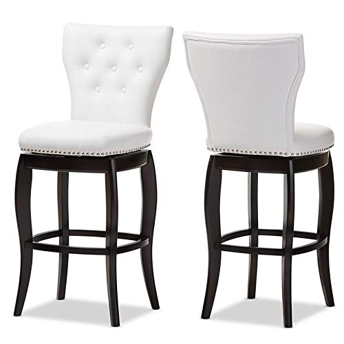 """Baxton Studio Leonice Faux Leather Upholstered Button-Tufted Swivel Barstool, 29"""", White"""