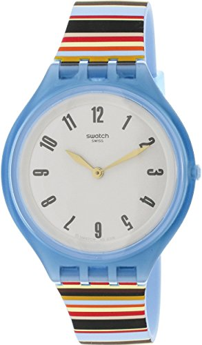 Swatch Skin Skinstripes Grey Dial Silicone Strap Unisex Watch SVUL100 by Swatch