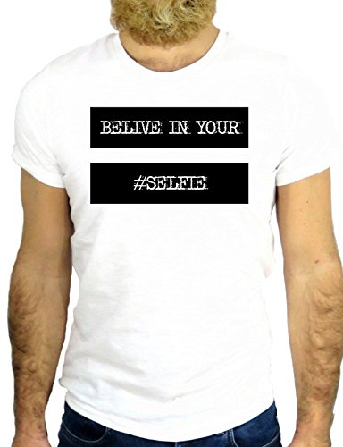 T SHIRT Z0333 BELIEVE IN YOUR SELFIE #SELFIE COOL VINTAGE PHOTO PICTURE HIPSTER GGG24 UK BIANCA - WHITE XL