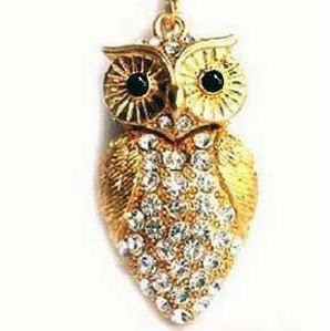 8GB Crystal Gold Colored Owl Style USB Flash Drive with necklace