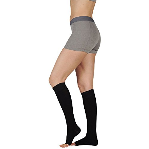 Juzo 3511MXAD3SBSH10 IV Dynamic Max 20-30 mmHg Open Toe Knee High Firm Compression Stockings With 3.5 cm Silicone Border In Short - Black44; IV - Large