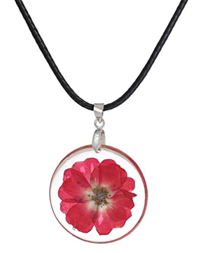 stylesilove Womens Pressed Natural Daisy Flower Resin Pendant Necklace (White with Leather Rope) (White with Leather Rope) (Fuchsia with Leather Rope)