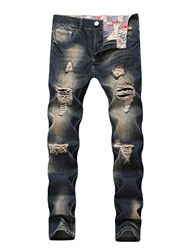 Enrica Men's Ripped Distressed Destroyed Straight Fit Washed Denim Jeans, Blue 928, -