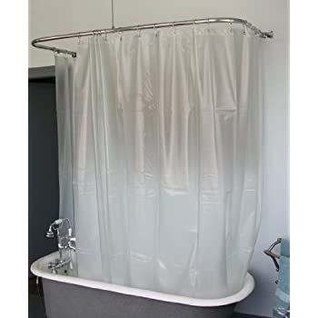 Extra Wide Vinyl Shower Curtain for a Clawfoot Tub opaque with Magnets 180  X Amazon com