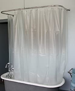 Extra Wide Vinyl Shower Curtain For A Clawfoot Tub Opaque With Ma