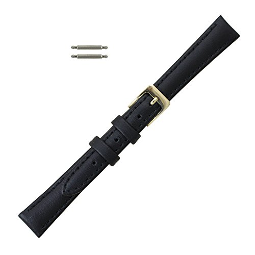 12mm Black Leather Classic Calf Watchband Replacement - Extra Long Length