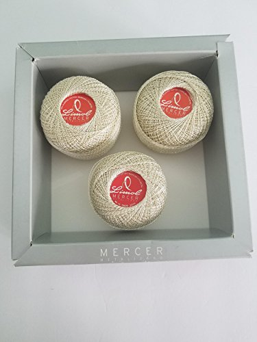 Limol Mercer crochet and knitting string. 93% Mercerized Cotton, 7% Metal Polyester. 50 grams. Made in Portugal. (Gold+Natural) by Limol