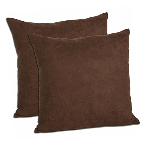Multiple Colors - Faux Suede 18-inch Decorative Pillow Covers - Set of 2 (Chocolate)