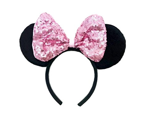 MeeTHan Disney Mickey Mouse Minnie Mouse Sequin Ears Headband: M8 (SQ-Pink1) -