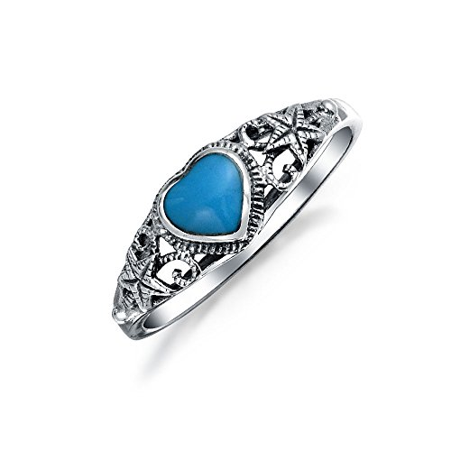 Nautical Starfish Stabilized Turquoise Heart Band Ring For Women For Teen Oxidized Sterling Silver December -