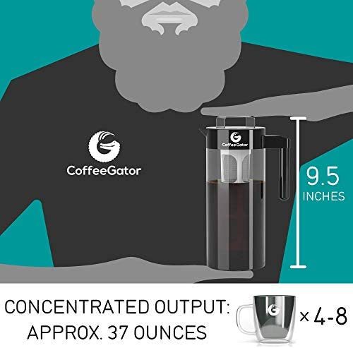 Coffee Gator Cold Brew Coffee Maker – BPA-Free Filter and Glass Carafe – Brewing Kit with Stainless Steel Measuring Scoop and Collapsible Loading Funnel – Black – 47 ounce
