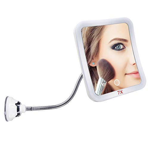 DUcare LED 7X Magnifying Makeup Mirror Bathroom Vanity Mirrors with Strong Suction -