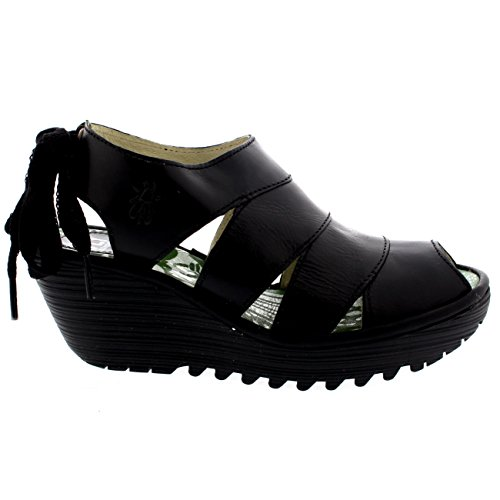 Womens Fly London Yown Sandali Con Tacco A Spillo E Zeppa In Pelle Nera