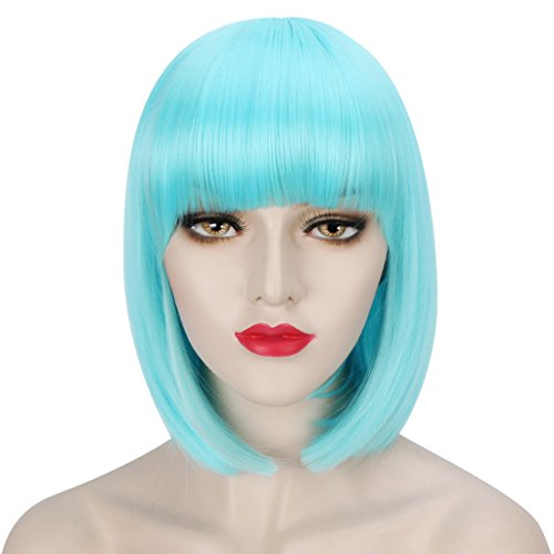[WELLKAGE 14 inches Halloween Costume Short Straight Sky-blue Bob Hair Wigs] (Blue Wigs For Women)