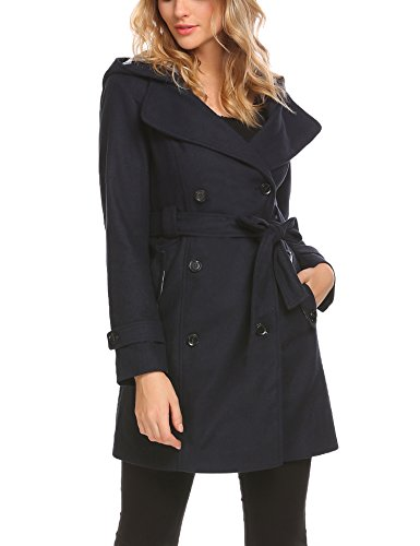 SE MIU Womens Winter Woolen Coat with Belt Long Slim Wool Trench - For Miu Miu Sale