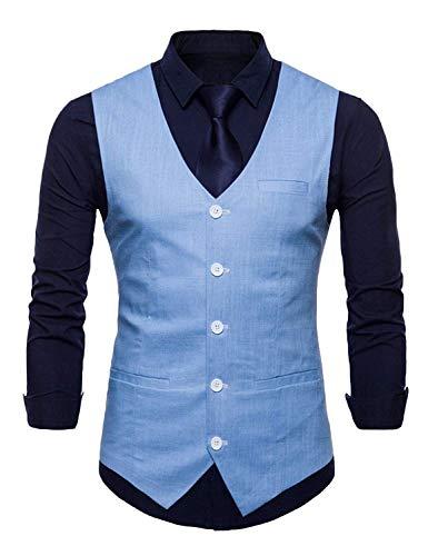 Vestido Blau Tuxedo Tuta Gilet Saoye Uomo Licht Fit Slim Fashion Silm Da G Vest Blazer Giovane ZBZ7Yq