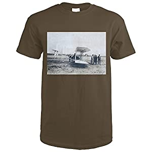 Flight Preparation at Camp d'Auvours (photopgraph) Vintage Poster c. 1908 (Dark Chocolate T-Shirt XX-Large)