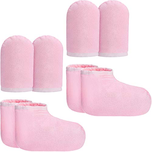 Bememo 4 Pairs Paraffin Wax Mitts and Booties, Wax Bath Mitts and Booties Reusable Paraffin Wax Mitts for Hand and Feet, Terry Cloth Insulated Mittens for Heat Therapy Spa Treatment (Pink)