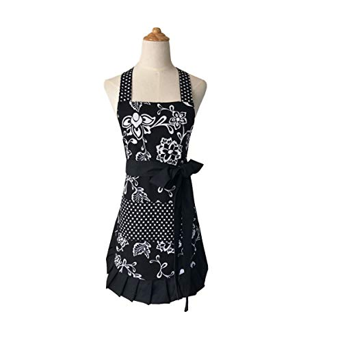 Apron Pretty - Cotton Fabric Women's Apron with 2 Pockets-Extra Long Ties, Home Baking or Kitchen Cooking, Graceful and Flirty, Black Style-3-Leeotia
