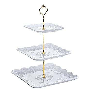 Dowan 3-Tier Porcelain Cupcake Stand/Wedding Cake Stand, Square Serving Platter, White