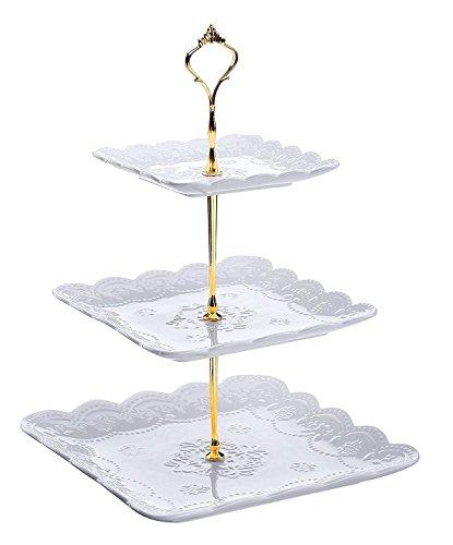 DOWAN 3-Tier Square Porcelain Cake Stand - White (Tea Cake Stand)