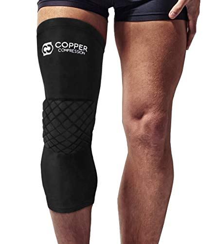 Copper Compression Knee Pads. Guaranteed Highest Copper Padded Knee Sleeves For Sports, Basketball, Volleyball, Work. Leg Compression Sleeve with Knee Pad for Men and Women. Copper Infused Support Fit