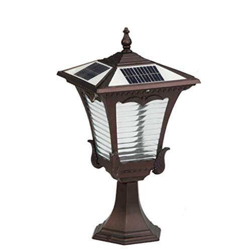 Wapipey Villa Exterior Brick Columns Glass Lantern Column Lamp Solar Energy Outdoor LED Two-Tone Post Light Vintage Garden Landscape Pillar Light IP65 Waterproof