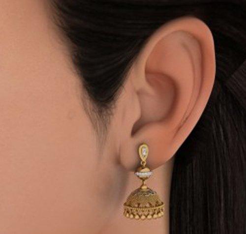 18K Or jaune 0,15CT TW Round-cut-diamond (IJ   SI) Pendants d'oreilles