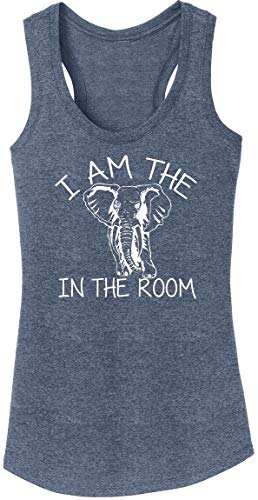 Ladies Tri-Blend Tank Top I Am The Elephant in The Room Navy Frost S