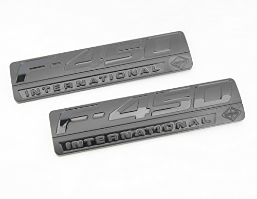 Truck Emblem Warehouse 2 New (Pair) Set Custom Matte Black F450 Powerstroke International Fender Badges