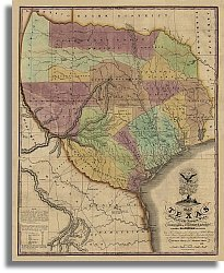 Map of Texas with Parts of Adjoining States by Stephen F. Austin, - Austin Stores Texas