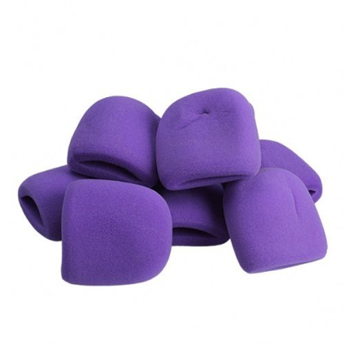Purple Dealglad 10pcs Microphone Sponge Foam Cover Windscreen Audio Mic Shield Protection Cap