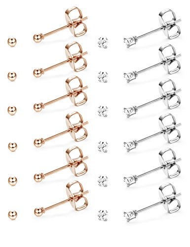 Gold Tone Sport Earrings (Udalyn 12 Pairs Tiny 2mm Stainless Steel Stud Earrings For Mens Womens CZ Round Ball Earrings Set Rose Gold-tone Ball Earrings)