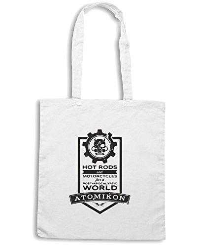 T-Shirtshock - Bolsa para la compra WC0196 ATOMIKON Hot Rods and Motorcycles Blanco