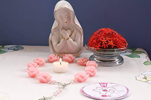 Catholic Altar - Catholic Rosary Altar Religious Gifts Home Decor Wax Handmade 1.2 inch Roses Beads Infused Essential Oils /R100PINK