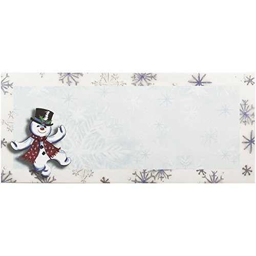 "JAM Paper #10 Christmas Envelopes - 4 1/8"" x 9 1/2"" - Snowman Design - 25/pack"