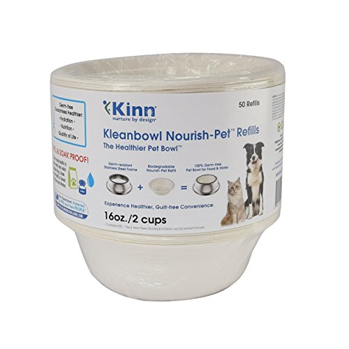 Kinn Kleanbowl  Nourish Pet Refill Food & Water Bowls for Dogs & Cats, 16 ounce (2 cups)