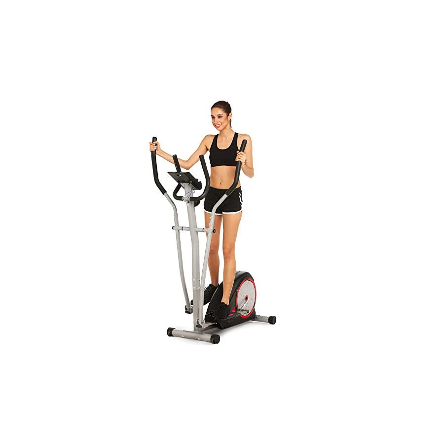Elliptical Machine Trainer Magnetic Smooth Quiet Driven with LCD Monitor and Pulse Rate Grips