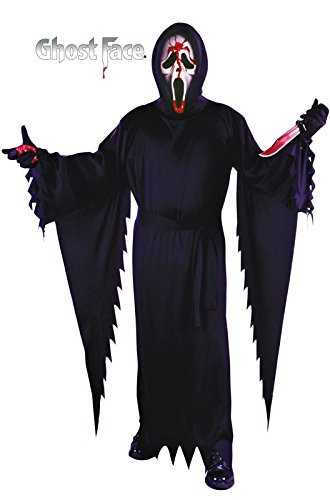 Fun World Men's Licensed Bleeding Scream/Ghost face, Black, STD. Up to 6' / 200 lbs. -