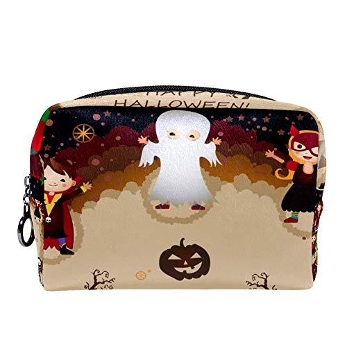 MAPOLO Happy Halloween Pumpkin Makeup Bag Toiletry Bag for Women Skincare Cosmetic Handy Pouch Zipper Handbag]()