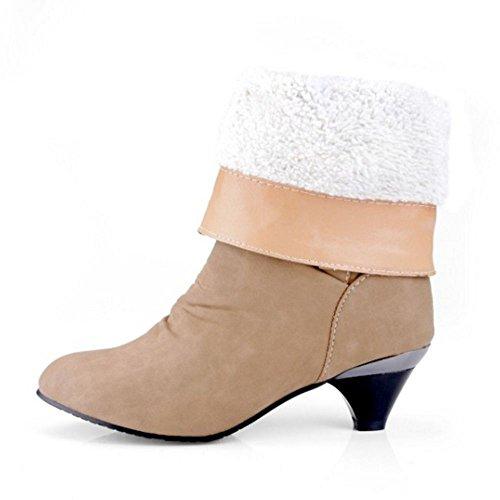 Coolcept Mujer Casual Botas con Tacon Medio Sin Cordones Zapatos Cinturon Yellow