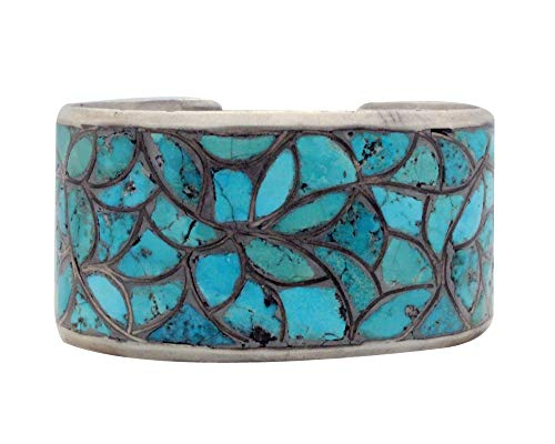 Zuni Handmade Bracelet, Turquoise Inlay, Fish Scale Design, Circa 1960s, 7.5