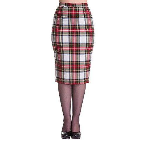 Hell Bunny Jodie Tartan Pencil Wiggle Skirt (S - US 6, White & Red)