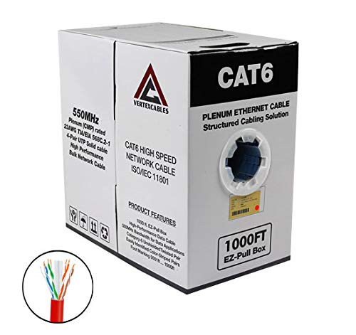 (CAT6 Plenum 1000FT 550MHz 23AWG Solid Network Cable UTP CMP RED)