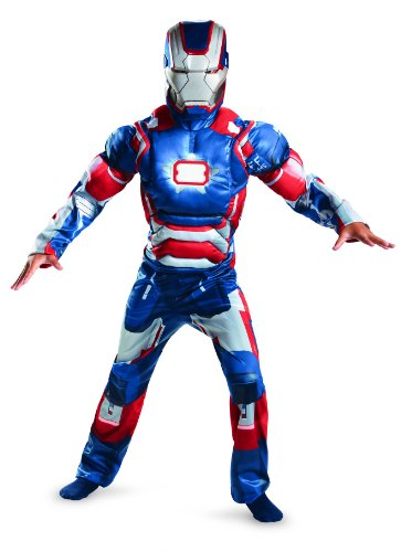 [Disguise Marvel Iron Man Movie 3 Iron Patriot Boys Muscle Light Up Costume, 10-12] (Iron Man 3 Costumes Kids)