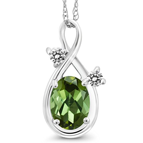 Gem Stone King 0.77 Ct Oval Green Tourmaline White Diamond 14K White Gold Pendant